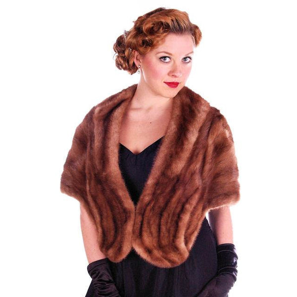 Vintage Stole Short Whiskey Colored Mink Stole Silk Lined 1950S - The Best Vintage Clothing  - 3