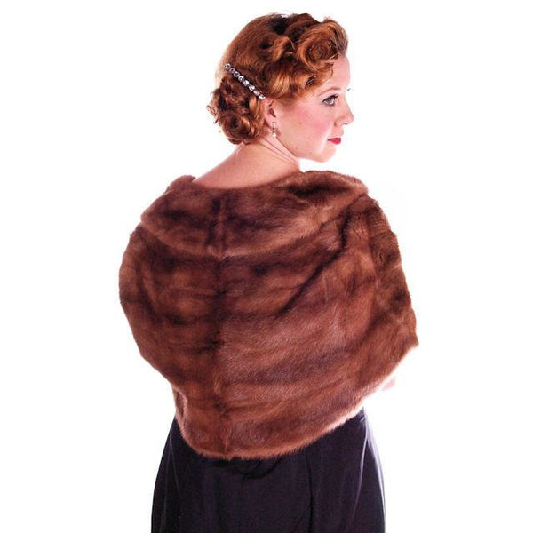Vintage Stole Short Whiskey Colored Mink Stole Silk Lined 1950S - The Best Vintage Clothing  - 1