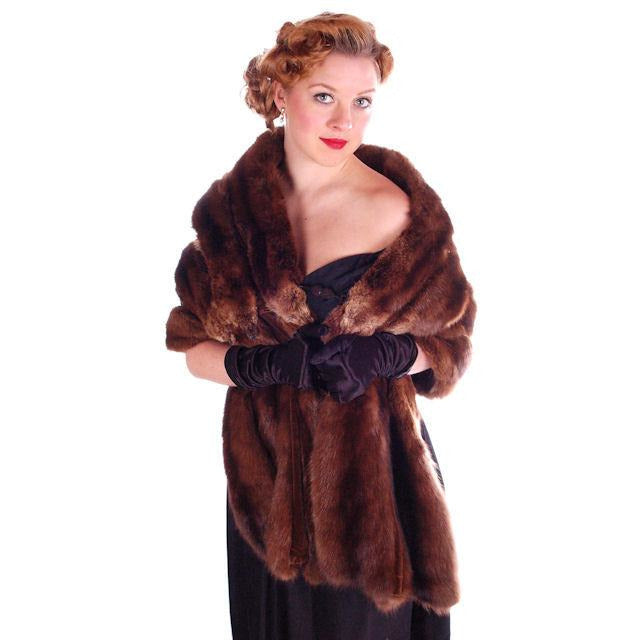 Vintage Fur Stole  Natural Ranch Mink Movie Star Quality 1950S Dark Brown 14 Skin - The Best Vintage Clothing  - 1