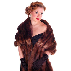 Vintage Fur Stole  Natural Ranch Mink Movie Star Quality 1950S Dark Brown 14 Skin - The Best Vintage Clothing  - 5