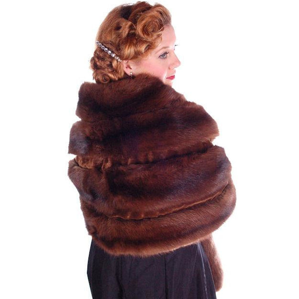 Vintage Fur Stole  Natural Ranch Mink Movie Star Quality 1950S Dark Brown 14 Skin - The Best Vintage Clothing  - 6