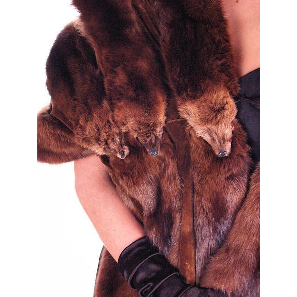 Vintage Fur Stole  Natural Ranch Mink Movie Star Quality 1950S Dark Brown 14 Skin - The Best Vintage Clothing  - 2