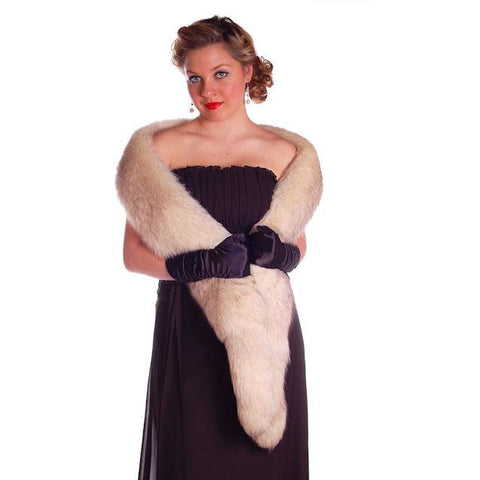 Vintage White Fox Fur Scarf Very Long 1950s