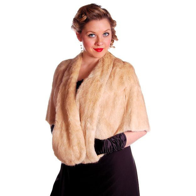 Vintage Stole Blonde Muskrat Fur Vogue Inc 1950s Beauty & Unusual Color One Size - The Best Vintage Clothing  - 1