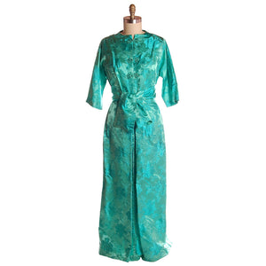 7d93dcf69f5a Vintage Deep Turquoise Dynasty Silk Damask Lounge Robe 1960S 42-31 ...