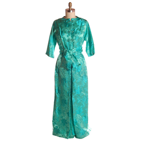 Vintage Deep Turquoise Dynasty Silk Damask Lounge Robe 1960S  42-31-46