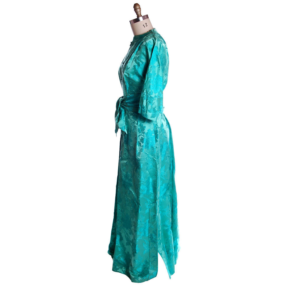 0bcdcd14a14f ... Vintage Deep Turquoise Dynasty Silk Damask Lounge Robe 1960S 42-31-46 -  The ...