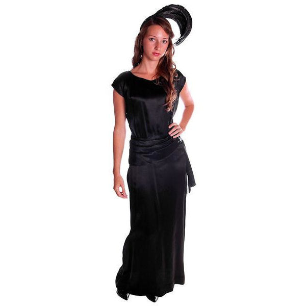 Vintage Black Silk Satin Evening Gown 1930s Size 38-27-38 - The Best Vintage Clothing  - 1
