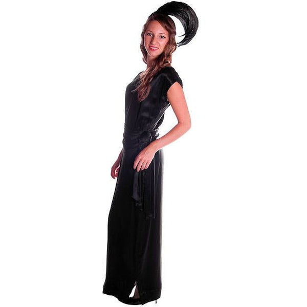 Vintage Black Silk Satin Evening Gown 1930s Size 38-27-38 - The Best Vintage Clothing  - 4