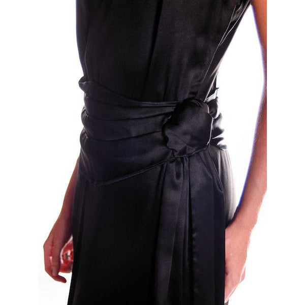 Vintage Black Silk Satin Evening Gown 1930s Size 38-27-38 - The Best Vintage Clothing  - 3