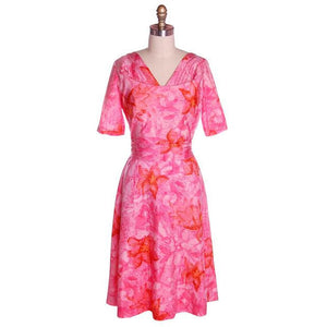 Vintage Hot Pink Printed Dress & Matching Hat 1950s 37-30-42 - The Best Vintage Clothing  - 1