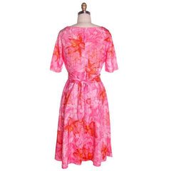 Vintage Hot Pink Printed Dress & Matching Hat 1950s 37-30-42 - The Best Vintage Clothing  - 4