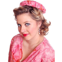 Vintage Hot Pink Printed Dress & Matching Hat 1950s 37-30-42 - The Best Vintage Clothing  - 8