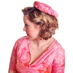 Vintage Hot Pink Printed Dress & Matching Hat 1950s 37-30-42 - The Best Vintage Clothing  - 9