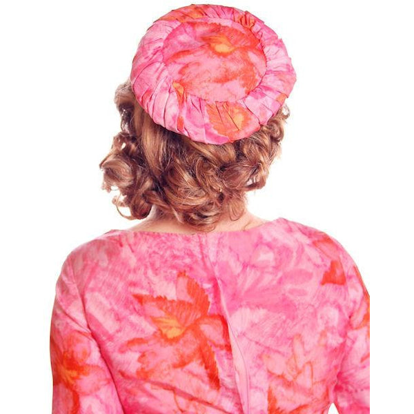 Vintage Hot Pink Printed Dress & Matching Hat 1950s 37-30-42 - The Best Vintage Clothing  - 7