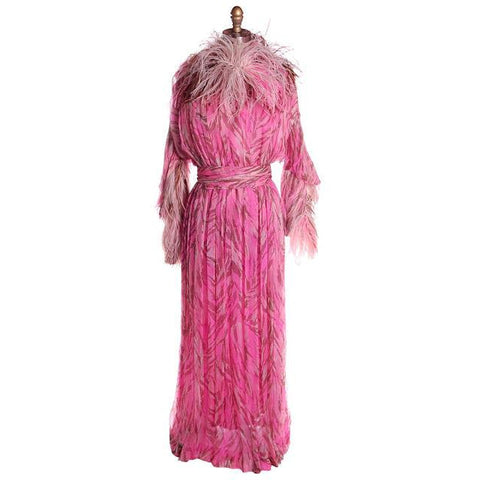 Vintage French Evening Gown Designer Marie-Martine Silk/ Feathers Paris 1950s 36 Bust
