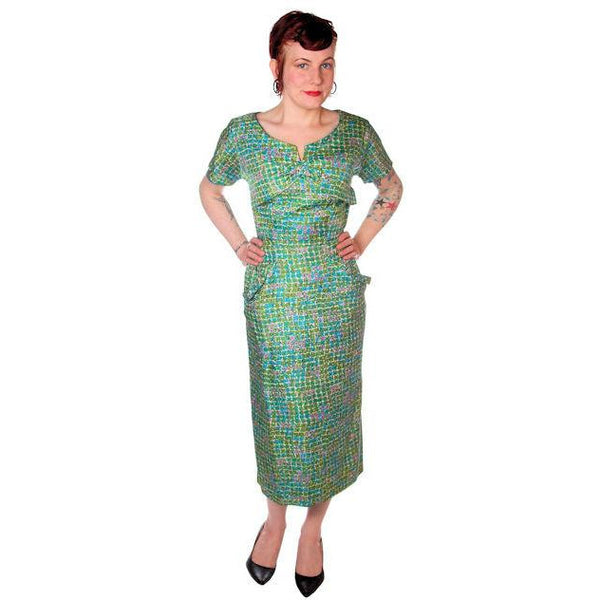 Vintage Silk Sheath Dress 1950s Turquoise Pastels Emile 34-25-37 - The Best Vintage Clothing  - 4