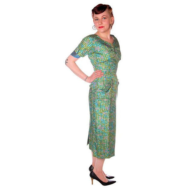 Vintage Silk Sheath Dress 1950s Turquoise Pastels Emile 34-25-37 - The Best Vintage Clothing  - 2