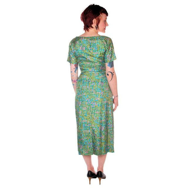 Vintage Silk Sheath Dress 1950s Turquoise Pastels Emile 34-25-37 - The Best Vintage Clothing  - 3