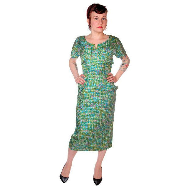 Vintage Silk Sheath Dress 1950s Turquoise Pastels Emile 34-25-37 - The Best Vintage Clothing  - 1