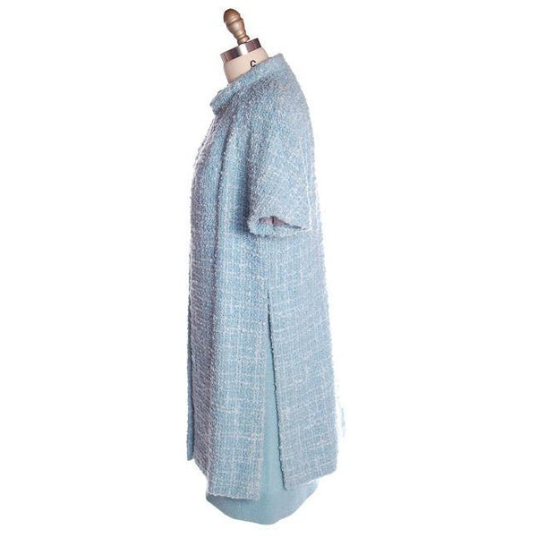 Vintage Blue Wool Tweed Dress & Coat Set 1960s B.H. Wragge Small - The Best Vintage Clothing  - 10