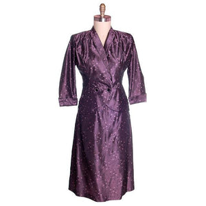 Vintage Ladies  Aubergine Damask Taffeta Suit 1940's 40-29-42 - The Best Vintage Clothing  - 1