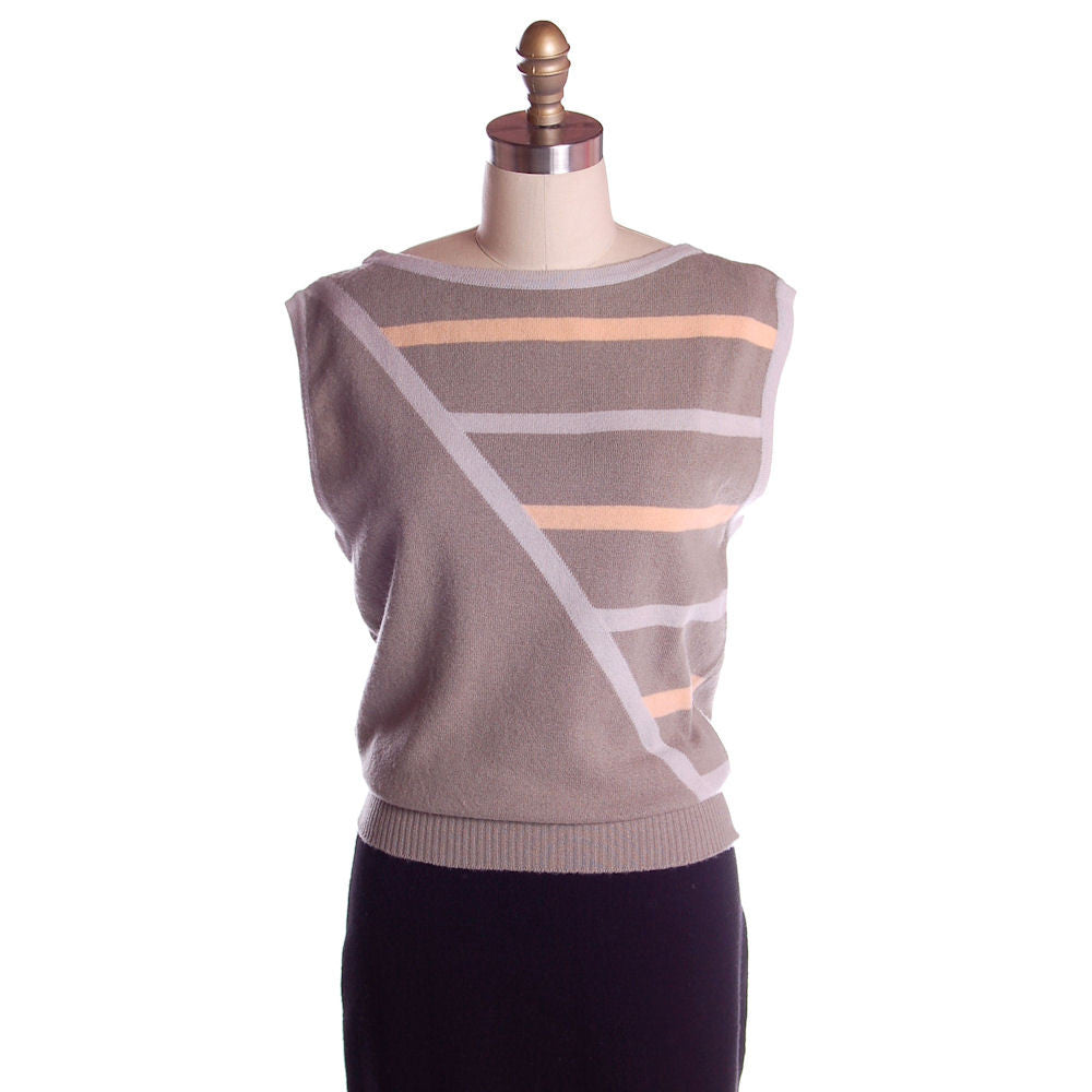 Vintage Pringle Taupe Cashmere Patterned Sweater Vest  Eu 38/97 1950s - The Best Vintage Clothing  - 1