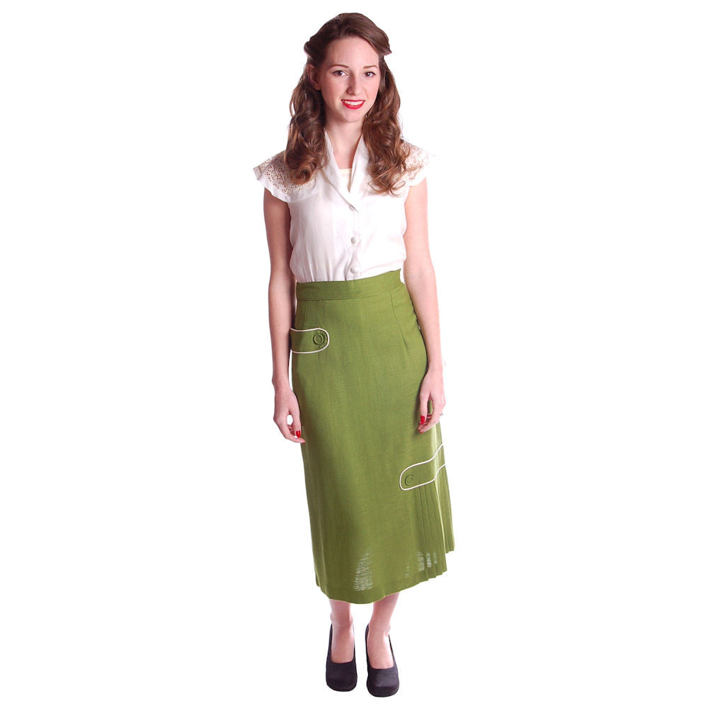 Vintage Pencil Skirt Apple Green Linen  Fab Details 1950S 26 Waist - The Best Vintage Clothing  - 1