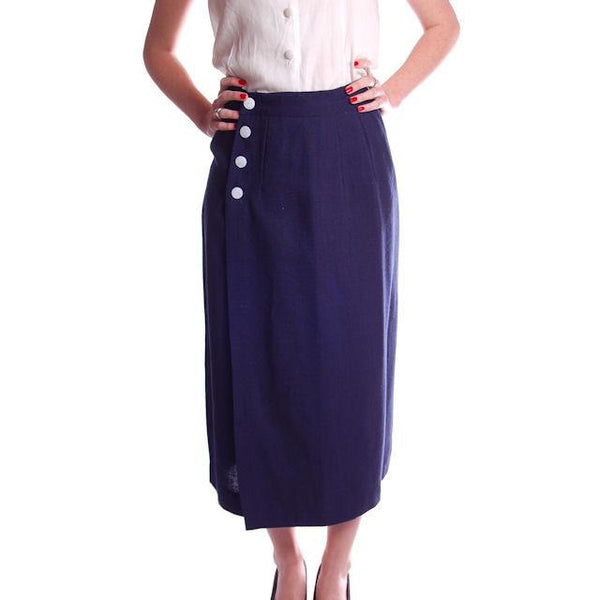 "Vintage Pencil Skirt Navy Blue Linen  Asymmetrical Buttons 1950 NOS 25"" Waist - The Best Vintage Clothing  - 2"