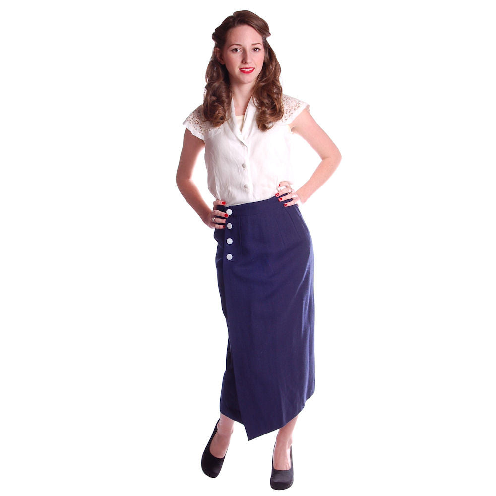 "Vintage Pencil Skirt Navy Blue Linen  Asymmetrical Buttons 1950 NOS 25"" Waist - The Best Vintage Clothing  - 1"