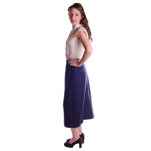 "Vintage Pencil Skirt Navy Blue Linen  Asymmetrical Buttons 1950 NOS 25"" Waist - The Best Vintage Clothing  - 3"
