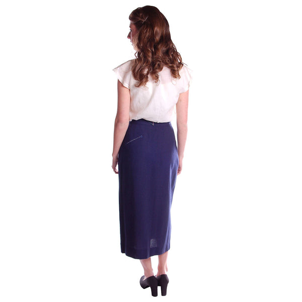 "Vintage Pencil Skirt Navy Blue Linen  Asymmetrical Buttons 1950 NOS 25"" Waist - The Best Vintage Clothing  - 8"