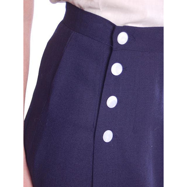 "Vintage Pencil Skirt Navy Blue Linen  Asymmetrical Buttons 1950 NOS 25"" Waist - The Best Vintage Clothing  - 7"