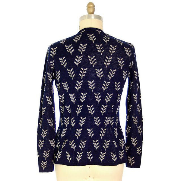 Vintage Cardigan Sweater Navy Wool Patterned Late 1940s Womens  M-L - The Best Vintage Clothing  - 4