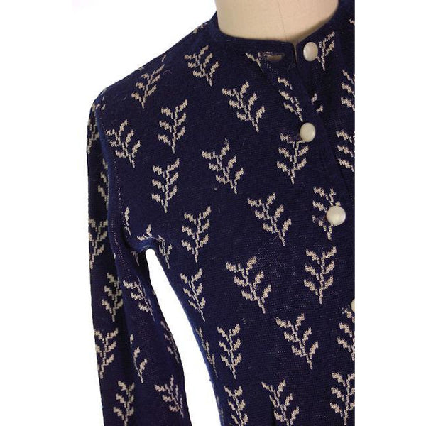 Vintage Cardigan Sweater Navy Wool Patterned Late 1940s Womens  M-L - The Best Vintage Clothing  - 5