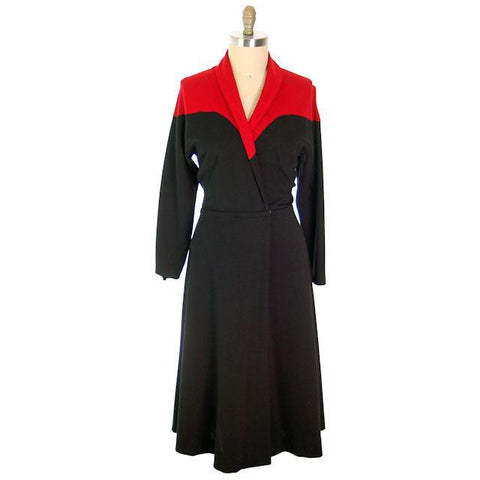 Vintage Halston Wrap Color Block Knit Dress For Design 1980s