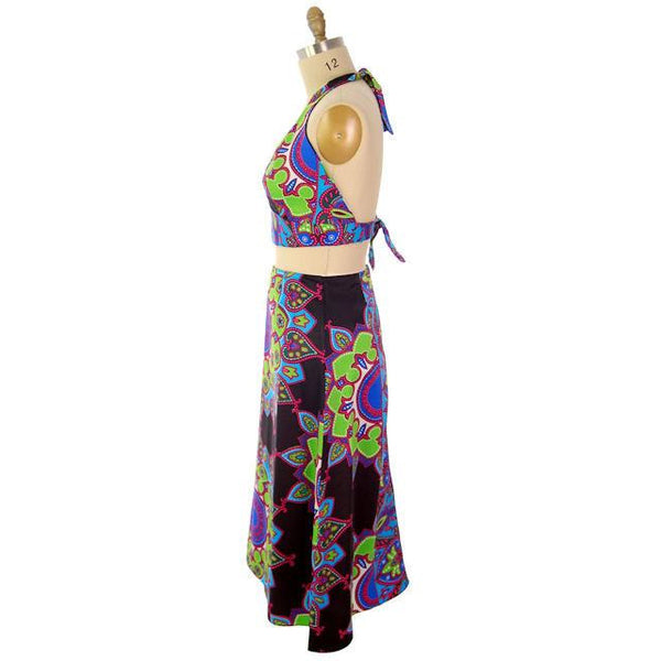 Vintage 1970s  Skirt & Halter Top Colorful Boho M-L - The Best Vintage Clothing  - 2