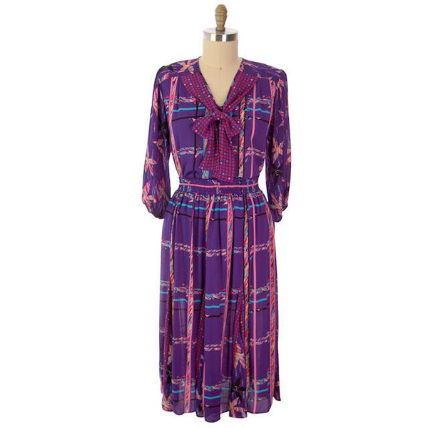 Vintage BoHo Diane Fres Colorful 2 Piece Dress Purples L-XL 1980s - The Best Vintage Clothing  - 7
