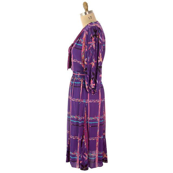 Vintage BoHo Diane Fres Colorful 2 Piece Dress Purples L-XL 1980s - The Best Vintage Clothing  - 2