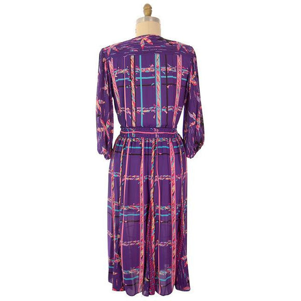 Vintage BoHo Diane Fres Colorful 2 Piece Dress Purples L-XL 1980s - The Best Vintage Clothing  - 9
