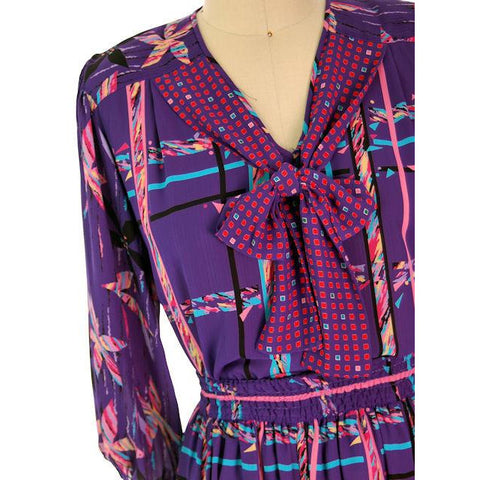 Vintage BoHo Diane Fres Colorful 2 Piece Dress Purples L-XL 1980s