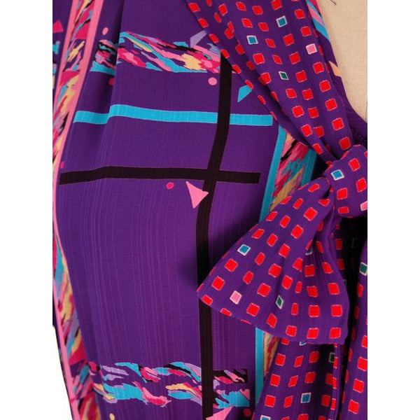 Vintage BoHo Diane Fres Colorful 2 Piece Dress Purples L-XL 1980s - The Best Vintage Clothing  - 3
