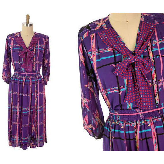Vintage BoHo Diane Fres Colorful 2 Piece Dress Purples L-XL 1980s - The Best Vintage Clothing  - 8