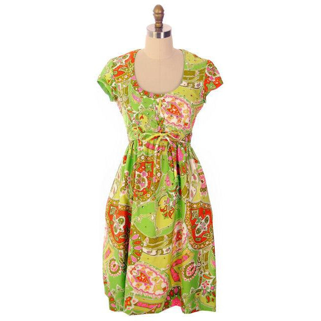 Vintage Summer Dress Cutest 1960s Lime Print/Rhinestones Miles & Miles 36-27-42 - The Best Vintage Clothing  - 1