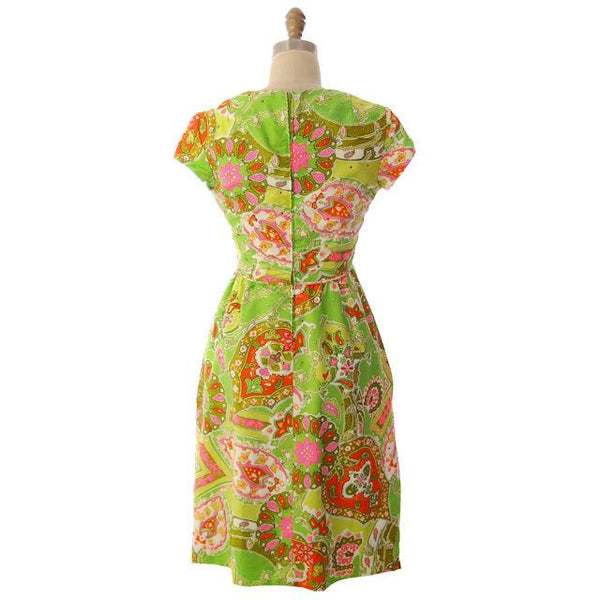Vintage Summer Dress Cutest 1960s Lime Print/Rhinestones Miles & Miles 36-27-42 - The Best Vintage Clothing  - 3