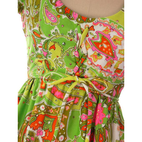Vintage Summer Dress Cutest 1960s Lime Print/Rhinestones Miles & Miles 36-27-42 - The Best Vintage Clothing  - 5