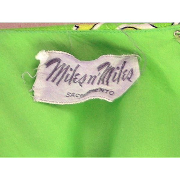 Vintage Summer Dress Cutest 1960s Lime Print/Rhinestones Miles & Miles 36-27-42 - The Best Vintage Clothing  - 4