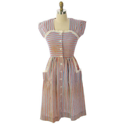Vintage Seersucker Dress Striped For Costume Betty Barclay 1940s