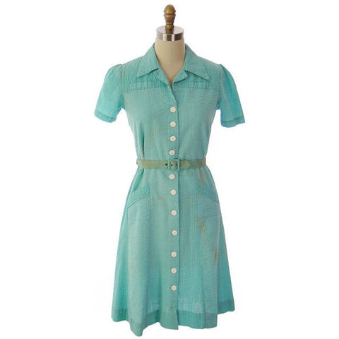 "Vintage Seersucker Dress Waitress Uniform Seafoam Green 1940s Stylecraft 35"" Bust"