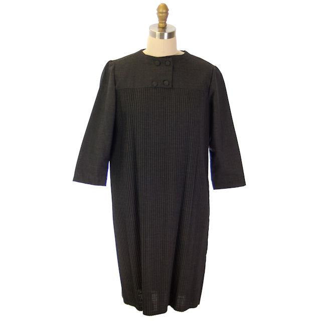 "Vintage Charcoal Gray Crystal Pleated Shift Dress 1960s 38"" Bust - The Best Vintage Clothing  - 1"